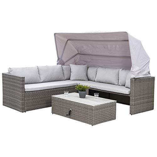 Funktions Lounge Ecksofa SAN Marco mit Faltdach, Metall + Polyrattan grau, Tisch höheverstellbar mit Tischplatte aus Akazien Holz
