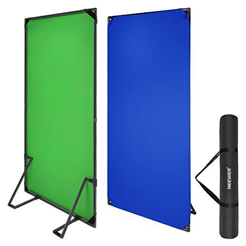 Neewer Kit di Fondale Verde/Blu Chroma Key con Supporto Stand, 1x2m Pannello Verde/Blu 2-in-1 Pieghevole per Fotografia, con Borsa di Trasporto