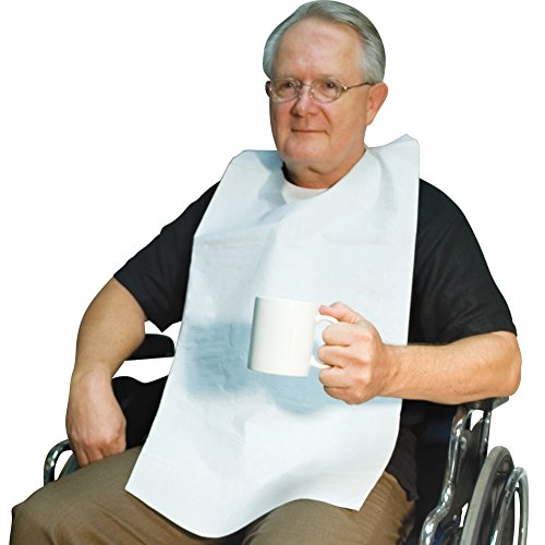 (Set of 100) Disposable Adult Tie-Back Poly Bibs Protect Clothes from Spills