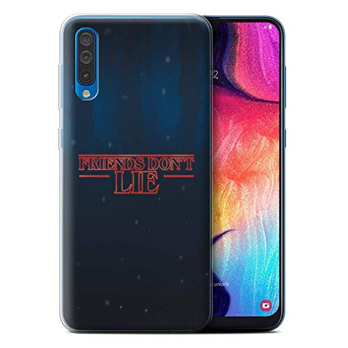 eSwish Gel TPU Phone Case/Cover for Samsung Galaxy A50 2019 / Friends Don't Lie Design/Strange Retro Collection