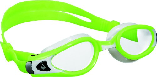 Aqua Sphere Kaiman Exo Small Fit Swimming Goggles with Clear Lens, Lime/White