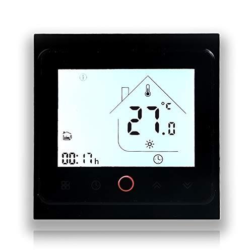 Touch screen LCD BecaSmart serie 002 3A Riscaldamento dell acqua Termostato di controllo della programmazione intelligente con connessione WIFI (Riscaldamento dell acqua, Completamente Nero(WIFI))