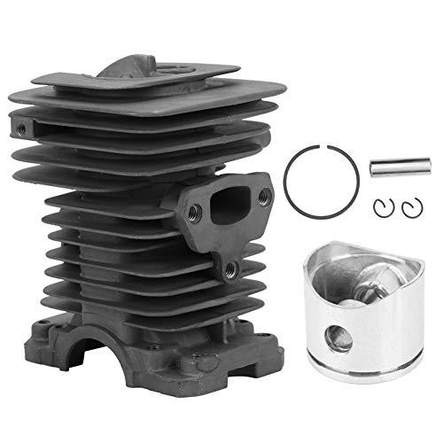 Conjunto de cilindro de 40 mm, kit de cilindro de pistón de motosierra compatible con motosierra Husqvarna 142 HU-142, kit de válvula de descompresión de anillo de pistón de cilindro plateado con pasa