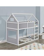Litera para niños con Escalera 200 x 90 cm Cama para niños de Madera Pino Cama Infantil Forma de casa Blanco y Gris