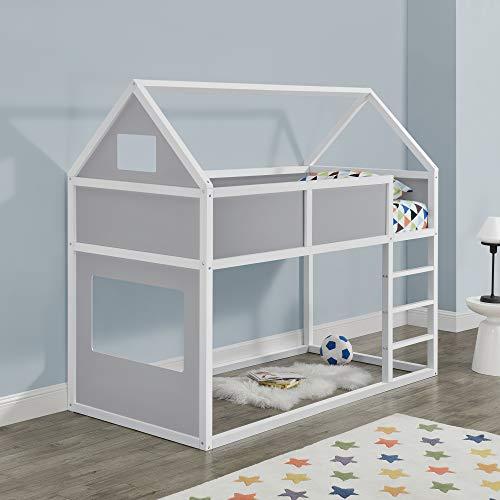 Kinder Hochbett mit Leiter 90x200cm Etagenbett mit Lattenrost Haus-Optik Bettenhaus für Jugendliche Hausbett aus Holz Kinderbett in weiß/grau