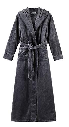 Ommda Heren sjaalkraag flanel winter dikke warme lange capuchon badjas