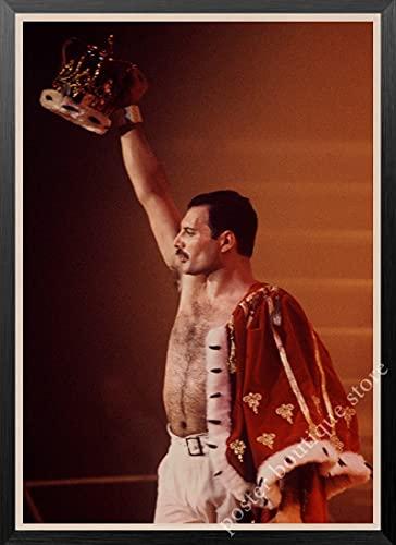 maohelaoshu Queen Band Musik Kraftpapier Poster Freddie Mercury Brian May Vintage Hochwertige Zeichnung Kern Dekorative Malerei Wandaufkleber B12 50X70Cm ohne Rahmen