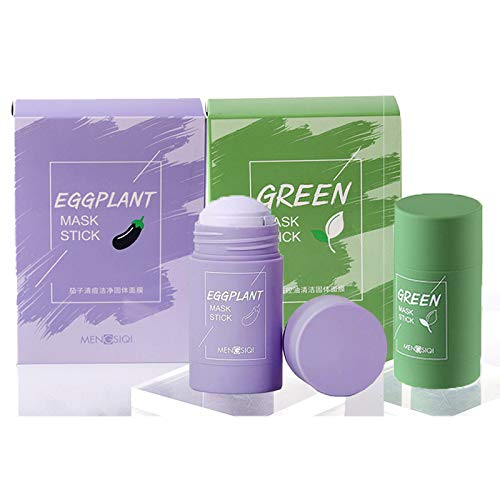 Green Tea Purifying Clay Stick Mask Oil Control Anti-Acne Eggplant Fine Solid,clay mask