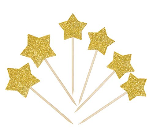 48 PCS Star Cupcake Toppers Gold Cake Picks Mixed Size (Small and large) Pentagram Shape - by Suntop