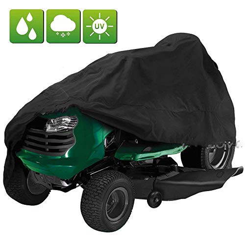 "Lawn Mower Cover, FLYMEI Premium Tractor Cover Fits Decks up to 54"" Storage Cover Heavy Duty, Durable, UV and Water Resistant All Season Protection, Black"