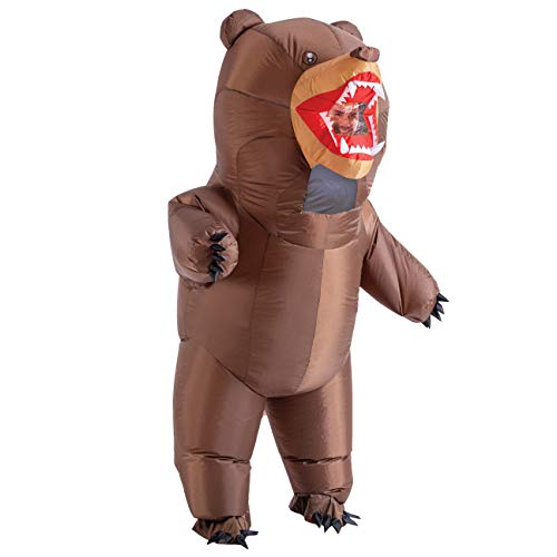 Spooktacular Creations Inflatable Costume Full Body Bear Air Blow-up Deluxe Halloween Costume - Adult One Size Brown