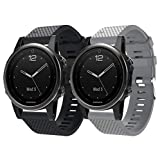 2 Pack Watch Bands for Fenix 5S Watch, Easy Fit 20mm Soft Silicone Replacement Watch Band Strap Sport Wristband Compatible with Fenix 5S/ Fenix 5S Plus/Fenix 6S/ Fenix 6S Pro/D2 Delta S Smartwatches