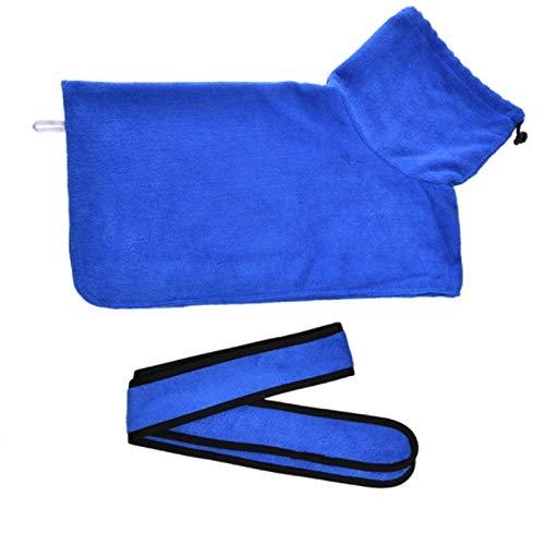Toallas de baño para Perros o Gatos pequeños y medianos Microfibra Super Absorcion-Cuello Alto Blue_XL