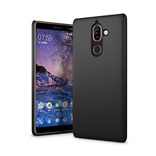 SLEO Custodia Nokia 7 Plus, Cover Nokia 7 Plus [Protezione 360°] Thin Fit, [Cover Sottile & Robusto] Rivestimento Soft-Feel, Ultra Leggero Protetto PC Duro Case per Nokia 7 Plus - Nero
