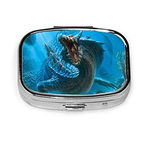 Dragon - Pastillero cuadrado compacto con dos compartimentos, organizador de tabletas medicinales de bolsillo para viajes