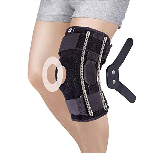 Dr.Welland Hinged Knee Brace Support - Adjustable Straps & Side Stabilizers - Open Patella Compression Support for or Knee Stability & Recovery Aid - Arthritis, ACL, LCL, MCL, Meniscus Tears, Tendon