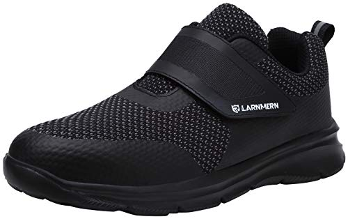 LARNMERN Mens Steel Toe Work Shoes,Safety Shoes Lightweight Breathable Casual Protection Footwear (Black/Black, 15 Women/13 Men)