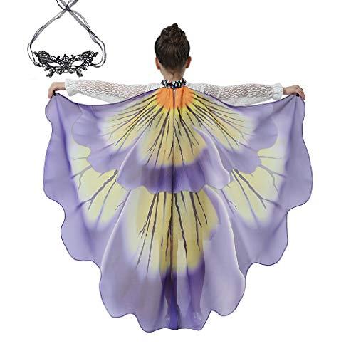 Xniral Barn flickor pojkar fjärilvingar halsduk kostym tillbehör med spetsmask ögonskydd till jul halloween dansparty