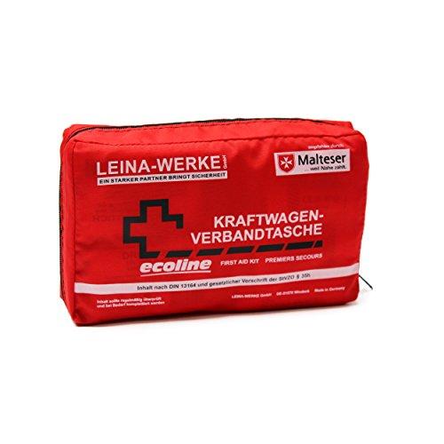 Leina-Werke 11044 KFZ-Verbandtasche Compact Ecoline mit Klett, Rot/Schwarz/Weiß