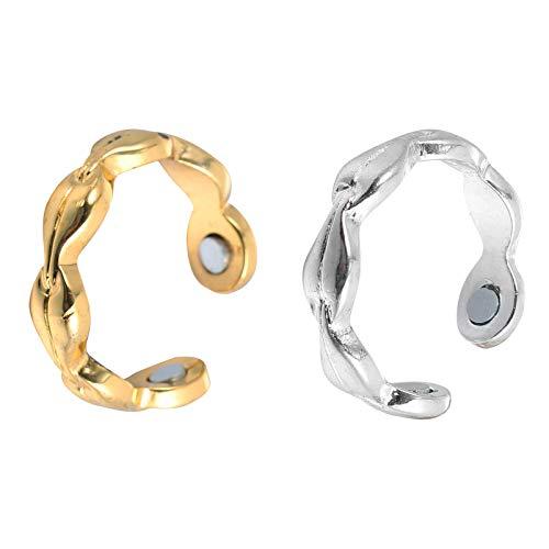 EXCEART 2 anillos magnéticos para pérdida de peso, anillos de cobre, anillo magnético de salud para artritis y túnel carpiano negro bronce