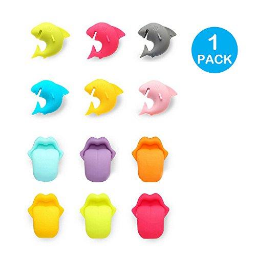 YOKIRIN 6X Silikon Lippen Zunge Glasmarker und 6X Silikon Sharks Zunge Silikon Glasmarker