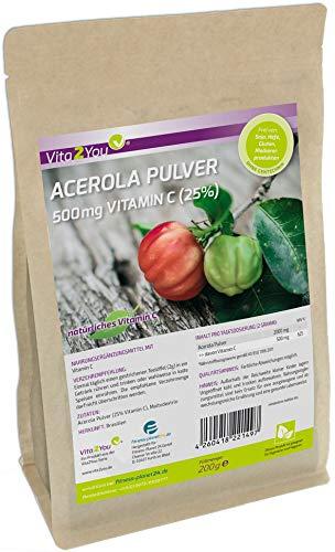 Vitamin C Acerola Pulver - 200g - 500mg Natürliches Vitamin C - Hochdosiert mit 25{d48e5090baedba08e27b16be81caede91666b729bba53571783877c481192c03} Vitamin C - Premium Qualität