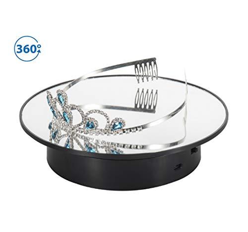 LW 回転 ディスプレイスタンド 電動 360度回転台 電池式/microUSB給電回転台 鏡面 撮影用,宝石類、時計、化粧品、玩具モデル、携帯電話、デジタルカメラの表示に適しています (black-mirror)