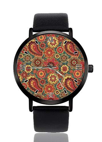 Reloj de pulsera para mujer con diseño de flor de cachemira, ultrafino, extremadamente simple, analógico, para mujer, ultra delgado, movimiento de cuarzo japonés