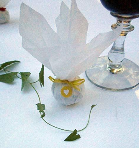 Die Seedball-Manufaktur, Sonne Seedball Gastgeschenk mit Herz, Weißes Seidenpapier mit gelber Bastschleife, 2,5 x 2,5 x 6 cm