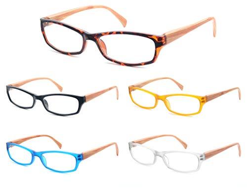 Un Pack de 5 Gafas de Lectura 4.0 Efecto Madera/Gafas para Presbicia para Hombres y Mujeres,Buena Vision Ligeras Comodas,Vista de Cerca/Vista Cansada