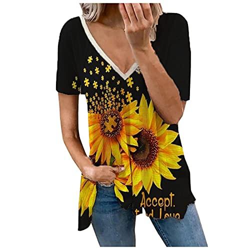 Camiseta de verano para mujer, de manga corta, informal, cuello en V, para mujer, adolescentes, niñas, túnica, holgada, holgada Negro XXL