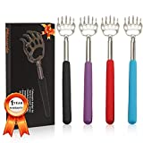 (4-Pack) Plazuria Portable Extendable Telescopic Bear Claws Metal Back Scratchers/Hand Massager/Backslap with Rubber Handles