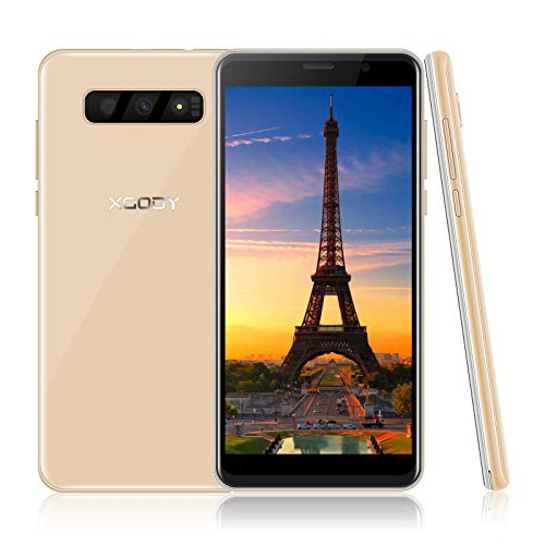 Xgody Cell Phone with 5.5' Screen 16GB+2GB Ram Android 8.1 Triple Slot, 5MP Dual Camera 2500mAh Battery Unlocked Smartphones -Gold