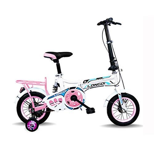 Kinderen fiets jongens fiets, Kinderen vouwfiets 12-inch high-carbon staal Bicycle 2-4 jaar oude kinderen's Bicycle, Zwart-wit rood/wit-blauw/roze wit/wit Green Children's fiets kinderfiets