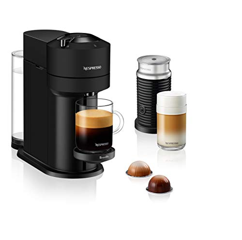 Nespresso Vertuo Next Coffee and Espresso Machine with Aeroccino NEW by Breville, Black Matte, Single Serve Coffee & Espresso Maker, One Touch to Brew