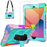 Blosomeet iPad Case 10.2 inch 2020 for Kids Drawing with Tempered Glass Screen Protector |Lifeproof Rugged iPad 8th/7th Generation Case Cover 2019 w/Stand Pen Holder & Hand Shoulder Strap |Turquoise