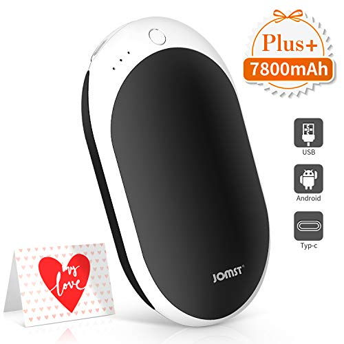 Jomst New 7800mAh Rechargeable Hand Warmers Portable Electric Power Bank,Larger Capacity Hand Warmer and Double-Sided Heating, (Black)
