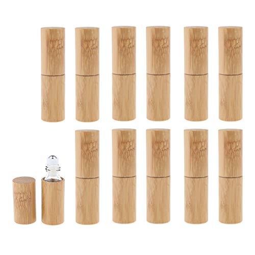Bonarty 12pcs / Set Bouteilles Rouleau de Bambou Vide pour Parfum Essentiel 5ml