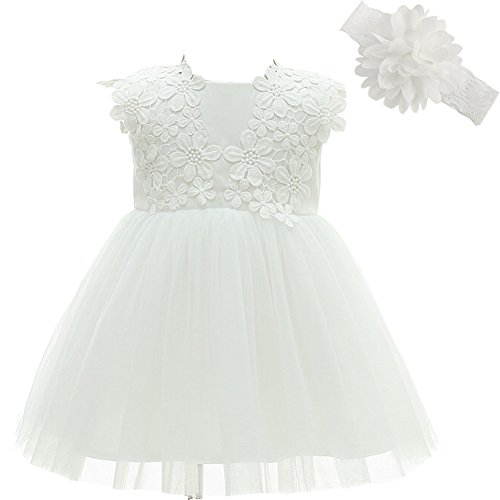 Baby Girl Dress Christening Baptism Gowns Flower Girl Dress, White, 3M