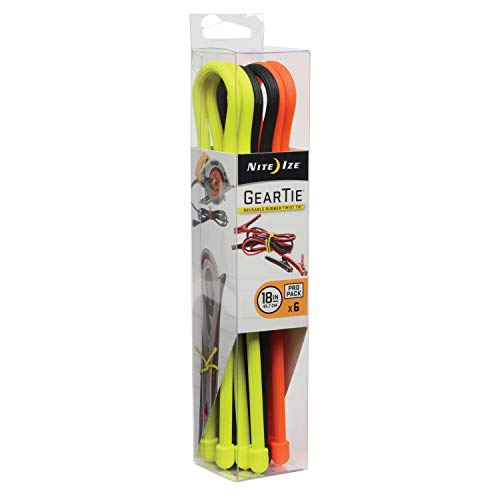 Nite Ize Original Gear Tie, Reusable Rubber Twist Tie, 18-Inch, Assorted Colors, 6 Count Pro Pack, Made in the USA