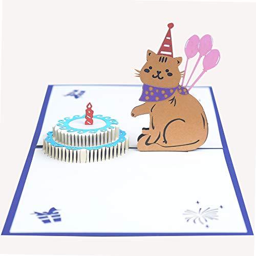 EUFANCE pastel de cumpleaños tridimensional Tarjeta de felicitación emergente 3D,
