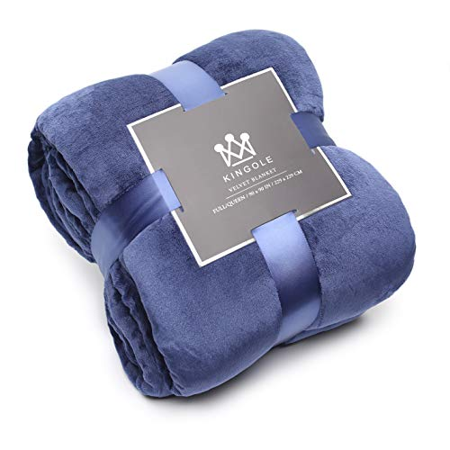Kingole Flannel Fleece Microfiber Throw Blanket, Luxury Navy Queen Size Lightweight Cozy Couch Bed Super Soft and Warm Plush Solid Color 350GSM (90 x 90 inches)