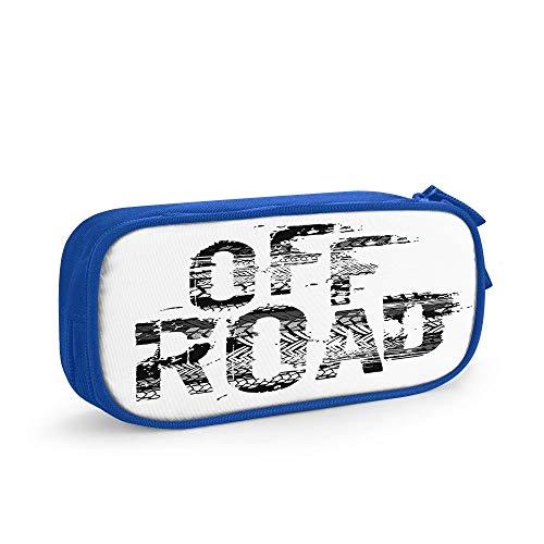Nicokee Federmäppchen mit Reifen-Schriftzug, für Auto, Motorrad, Geschwindigkeit, mit Reißverschluss, für Büro, Reisen, Make-up, Blau