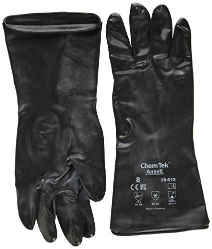 Chemtek Ansell 612/8 Zoll, Butyl Viton, Chemikalien- und Wasserbeständigkeitshandschuhe 8, Schwarz (1 Paar Beutel)