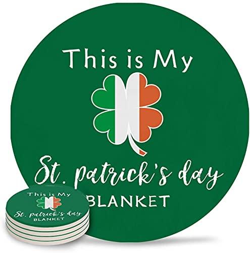 Posavasos para Bebidas Día de San Patricio Bandera de Irlanda Trébol de Piedra Absorbente Posavasos de cerámica con Respaldo de Corcho y sin Soporte para Tazas, Juego de 6 Piezas Verde-6