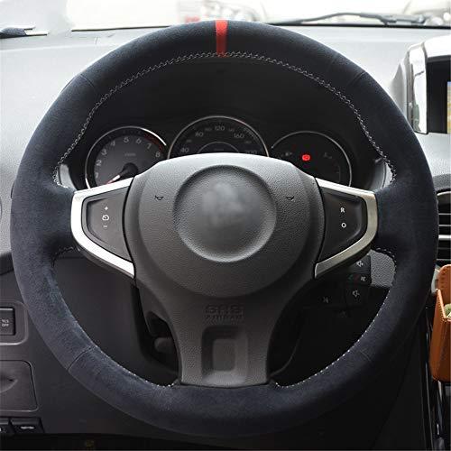 LUOERPI Cubierta del Volante del Coche Negro Alcantara Cosida a Mano, para Renault Koleos 2009-2014, para Samsung QM5