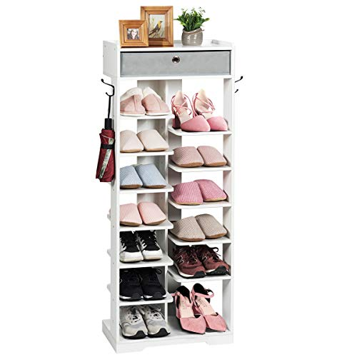 Tangkula 12-Tier Wooden Shoe Rack, Entryway Shoes Storage Stand with Storage Drawer Hooks & Extra Top Storage, Space Saving Vertical Shoe Storage Shelves Can Hold 13 Pairs Shoes, Storage Shelf (White)