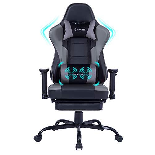 Gaming Stuhl Bürostuhl Ergonomischer mit Massage Lendenwirbelstütze- Hohe Rückenlehne Verstellbarer Schreibtischstuhl mit Fußstütze und Kopfstütze, PC-Stuhl Computerstuhl Gaming Chair, Grau