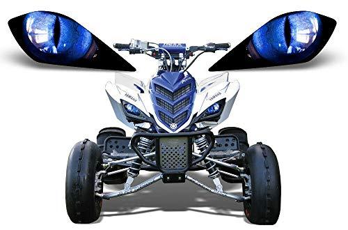 AMR Racing ATV Headlight Eye Graphics Decal Cover Compatible with Yamaha Raptor 700/250/350 - Eclipse Blue
