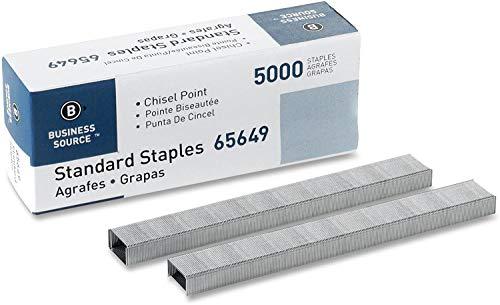 "Standard Staples, Chisel Point Standard Staples, 210 Staples Per Strip, 20 Sheets Capacity, 1/4"" Length, 5,000 Staples Per Box - 1 Box"
